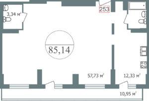 3 подъезд  Свободная планировка, ориентирована на юг  Нет в продаже